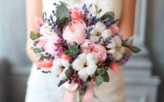 Свадебный букет с хлопком и другие актуальные варианты свадебной флористики