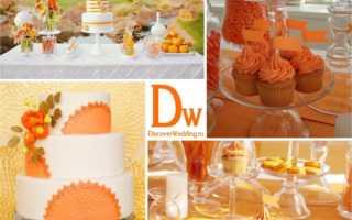 Мандариновая свадьба: яркие образы молодожёнов, интересный банкетный зал