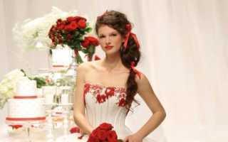 Стильные решения свадебных платьев с красными элементами