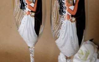 Украшение бокалов на свадьбу своими руками кружевом и в технике декупаж
