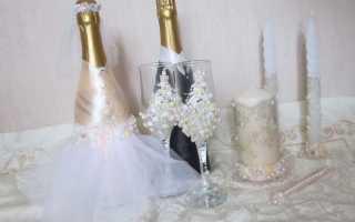 Украшаем бутылку шампанского на свадьбу своими руками
