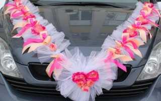 Ленты на свадьбу для машин в украшениях, сделанных своими руками